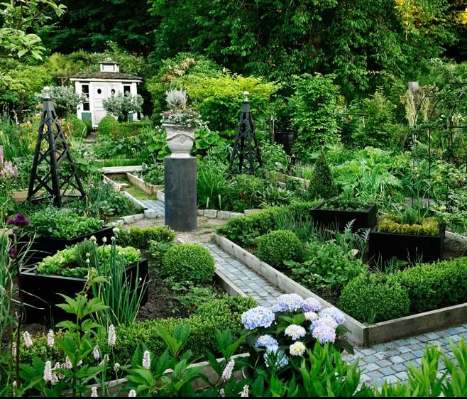 """Potager with raised beds by Roland Persson. I don't know what it is about this composition, but it feels far too """"busy"""""""