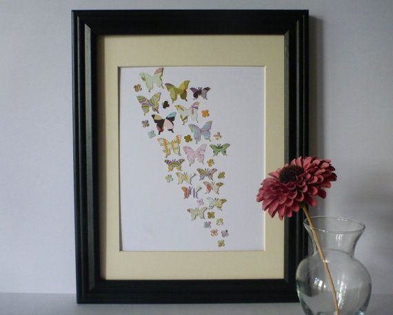 Butterfly Paper Wall Art  Colourful Palette 10 x by 1981Collective