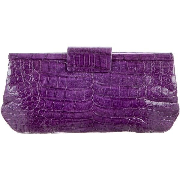 Pre-owned Nancy Gonzalez Crocodile Frame Clutch ($475) ❤ liked on Polyvore featuring bags, handbags, clutches, purple, crocodile handbags, preowned handbags, purple crocodile handbag, pre owned handbag and handbag purse