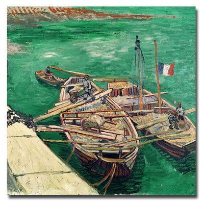 "Trademark Art ""Landing Stage with Boats 1888"" by Vincent van Gogh Painting Print on Wrapped Canvas Size:"