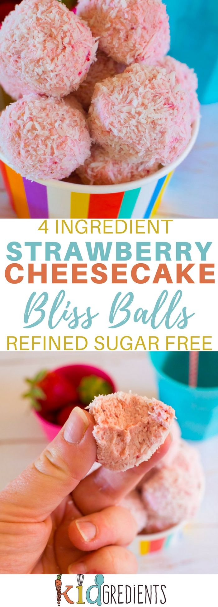 4 ingredient strawberry cheesecake bliss balls! Yummy, easy to make recipe that is kid friendly and freezer friendly! #recipe #cheesecake #strawberry #blissballs