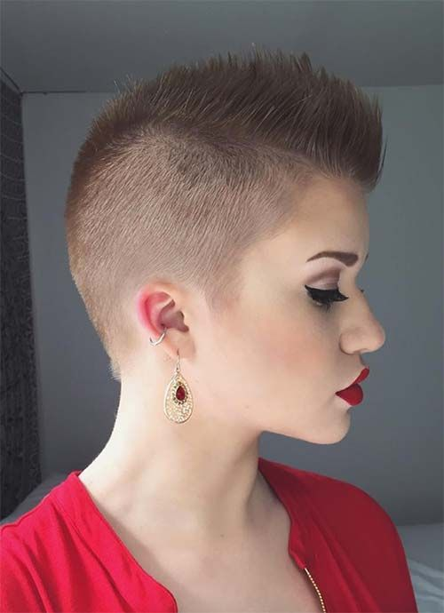 Short Hairstyles for Women: Mohawk Buzz Cut #shorthairstyles