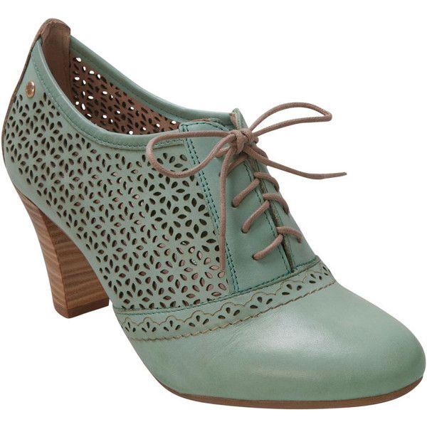 Pikolinos Women's Niza Safari 935-7641 Aqua Pump Shoe ($110) ❤ liked on Polyvore featuring shoes, pumps, heels, zapatos, aqua pumps, pikolinos shoes, cut out shoes, lace up pumps and cutout pumps