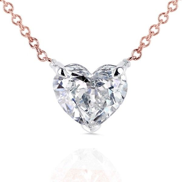 Floating Heart Diamond Necklace 1 CTW in 14K Gold (Certified) ($2,999) ❤ liked on Polyvore featuring jewelry, necklaces, 14 karat gold necklace, diamond heart necklace, pendant necklaces, gold pendant necklace and gold necklace