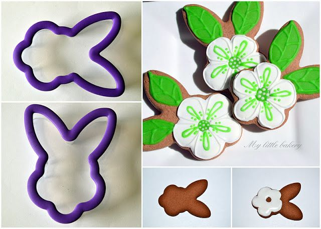 Flower cookies from a bunny cutter