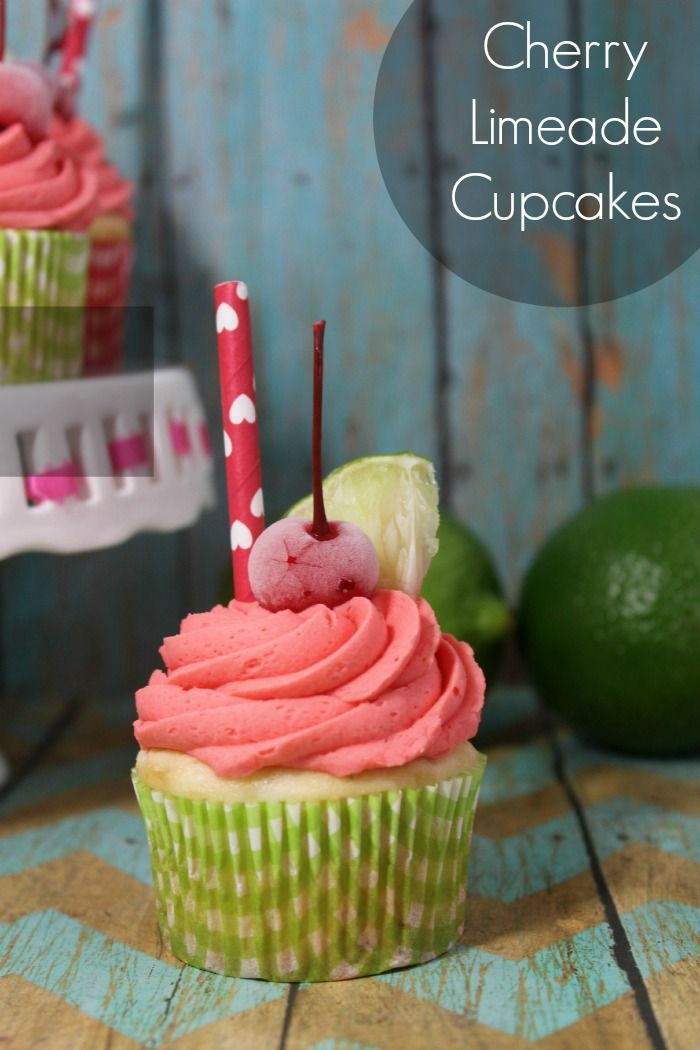 Make these Cherry Limeade cupcakes from scratch.  Includes a lime cake and cherry buttercream frosting.