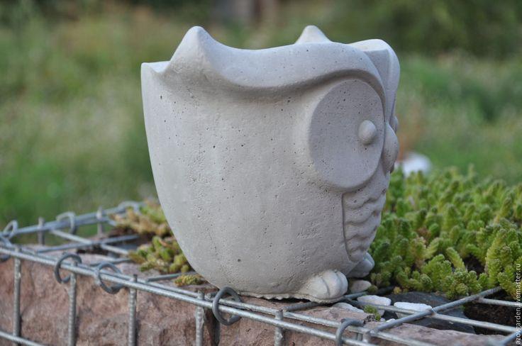 Купить Горшок для цветов Сова из бетона, серый, креатив для растений - для дома…