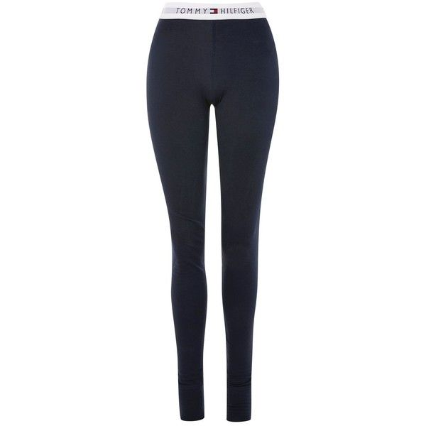 Varsity Leggings by Tommy Hilfiger ($45) ❤ liked on Polyvore featuring pants, leggings, navy blue, tommy hilfiger, navy blue leggings, navy cotton pants, cotton elastic waist pants and cotton pants