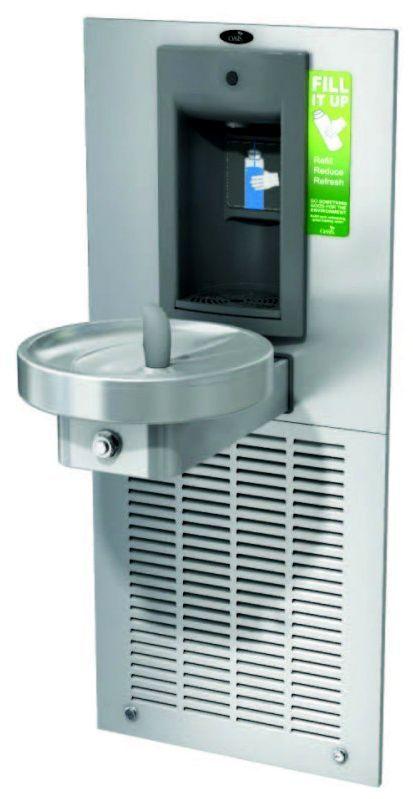 """Питьевой комплекс M8WRSBFY: """"врезной"""" аппарат для наполнения бутылок с механической активацией и круглый питьевой фонтанчик"""