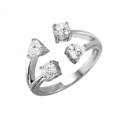 Metal: .925 Sterling Silver Finish: Nickel Free Rose Gold Plated Stones: 2 - round 4mm Clear CZ // 2 - heart shaped 4mm Clear CZ Ring Measurement: width - 20.75
