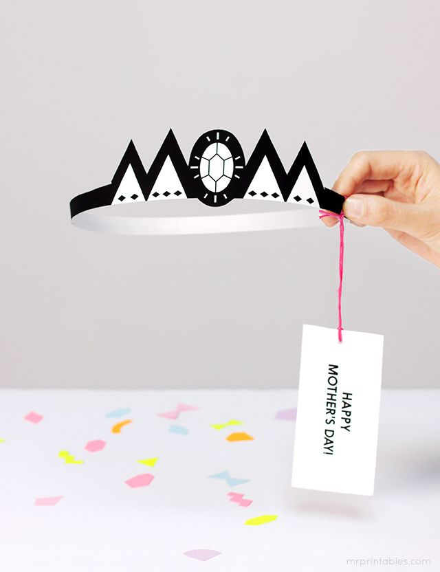 Typography crown Mother's Day card template / Mr Printables