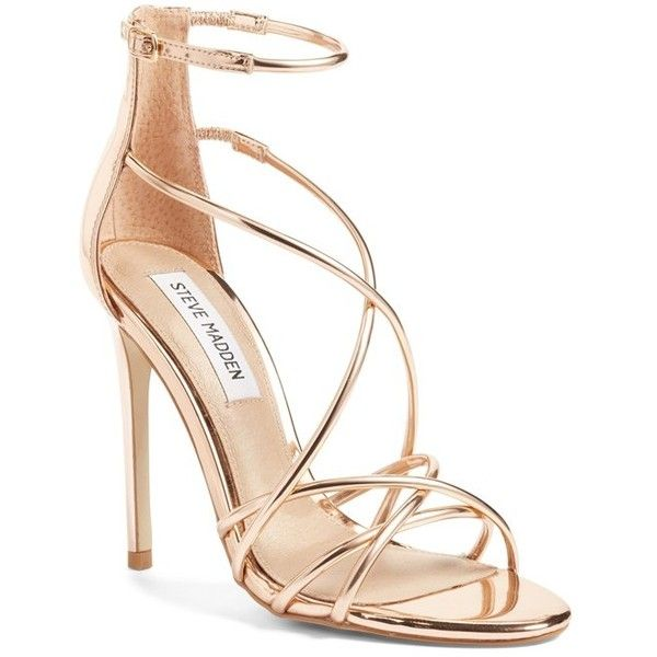 Women's Steve Madden Satire Strappy Sandal (£72) ❤ liked on Polyvore featuring shoes, sandals, heels, rose gold, metallic strappy sandals, metallic shoes, criss cross strap sandals, rose gold stilettos and strappy sandals