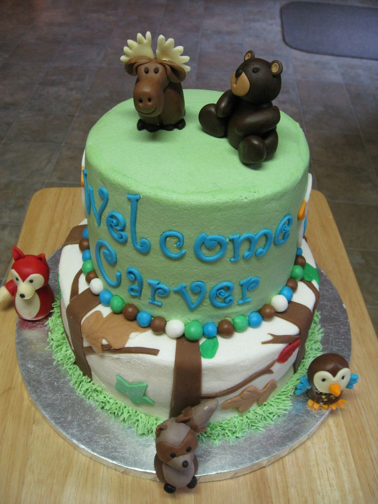 Cake Decoration Woodland Animals : 65 best images about Amber s baby Shower Cake on Pinterest ...