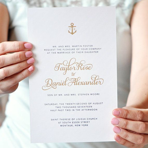 Monogram Wedding Invitation, Anchor Wedding Invitation, Navy Wedding Invitation, Laser Cut - Taylor Collection SAMPLE by Engaging Papers
