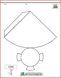 nets of 3d shapes cone net tabs