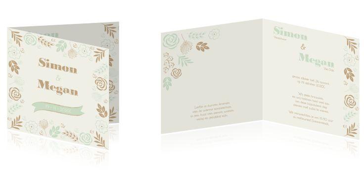 Trouwkaart met bloemenframe #Trouwkaart in #nostalgische #sfeer met #bloemenframe en #ornamenten. In #goud en #mintgroen. #trouwkaartBloemen #trouwkaartMaken