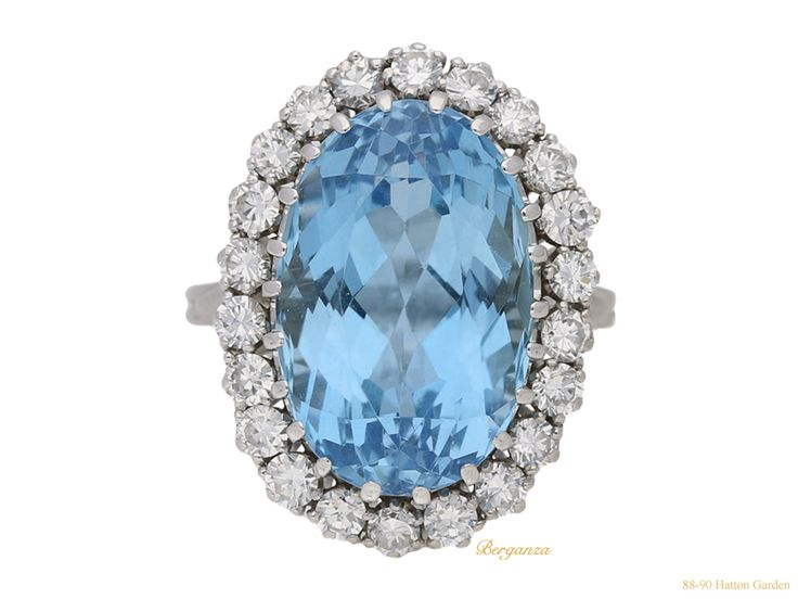 Aquamarine and diamond coronet cluster ring, circa 1960.