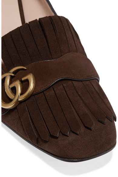 Gucci - Fringed Suede Pumps - Brown - IT35