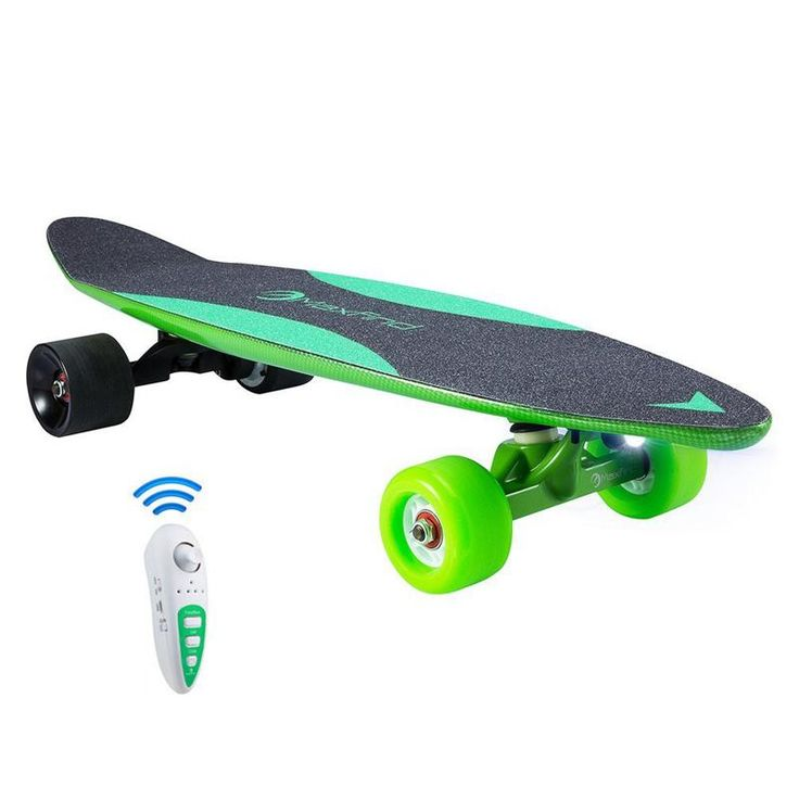 Max C 27 Inch Carbon Fibre Green Electric Skateboard With Samsung Battery Remote Control
