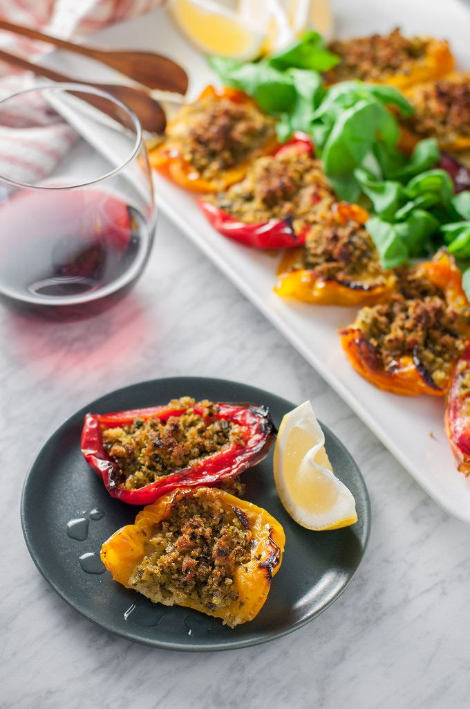 Rainbow bell peppers with herbed breadcrumbs appetizer (make ahead and ...