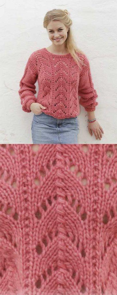 Blushing Beauty Lace Sweater Free Knitting Pattern. Free lace knitting pattern