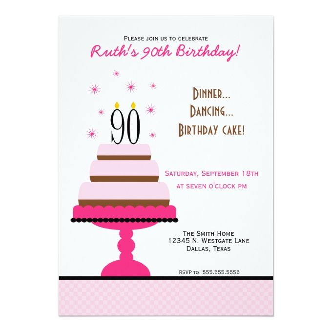 The 1292 best 90th birthday invitations images on pinterest 90th pink tiered cake 90th birthday party invitation filmwisefo