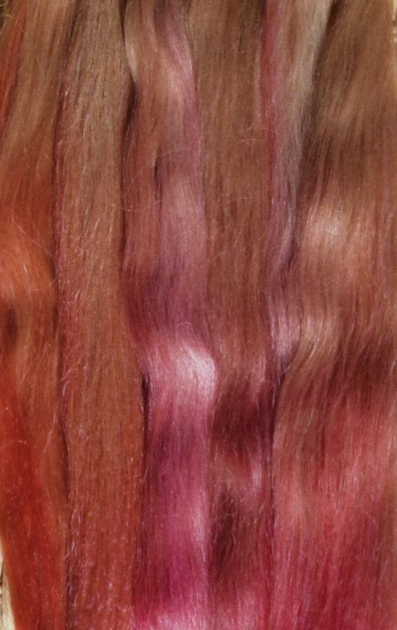 Combed Suri Alpaca Doll Hair 0.4 of an ounce 9-11 inches long Light Medium Brown with Copper and Rose Tip Ombre