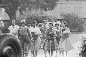 "In 1954, the Supreme Court ruled that ""separate but equal"" schooling was not, in fact, equal, and officially ruled school segregation unconstitutional with the case Brown v. Board of Education. But when nine black teenagers tried to enter Central High School in Little Rock, Arkansas, in September 1957, they were met with an angry mob and Arkansas National Guardsmen who stopped them."