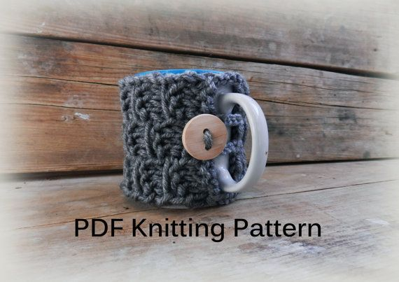 PDF Knitting Pattern/ Knit Coffee Cosy Pattern by GabriCollection