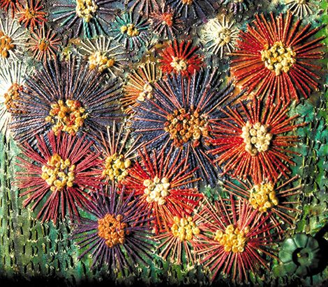 'Garden Journal' front cover detail showing stitch (click to enlarge). Frances Pickering, artist.