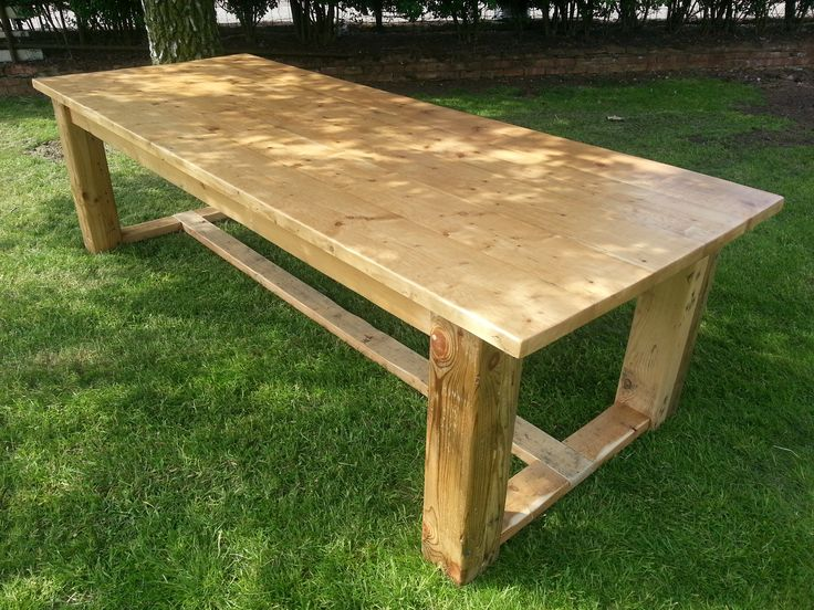 Large 9ft chunky square refectory table made from reclaimed pine.
