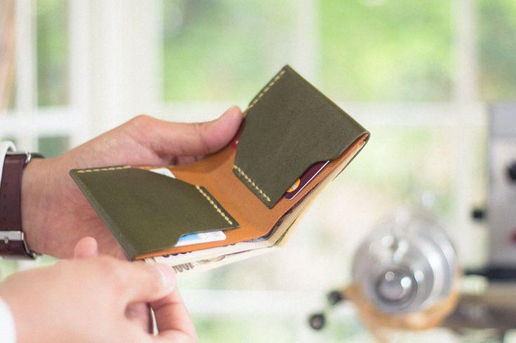 Простой ручной сшиты кожаный бумажник | кожаные аксессуары дурам ЗАВОД