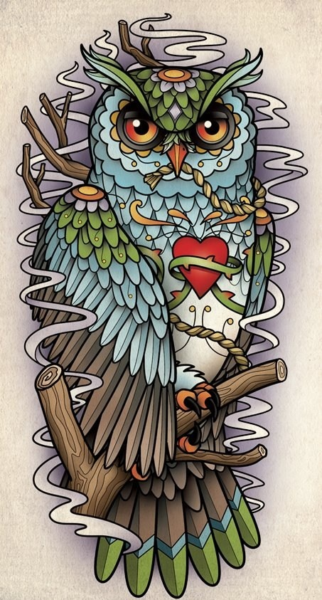 Owl Tattoo Flash | Neo-Traditional Tattoo Art | Pinterest ...