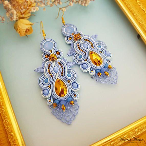 Soutache Earrings 3 in 1  Long gold-blue Dangle Earrings