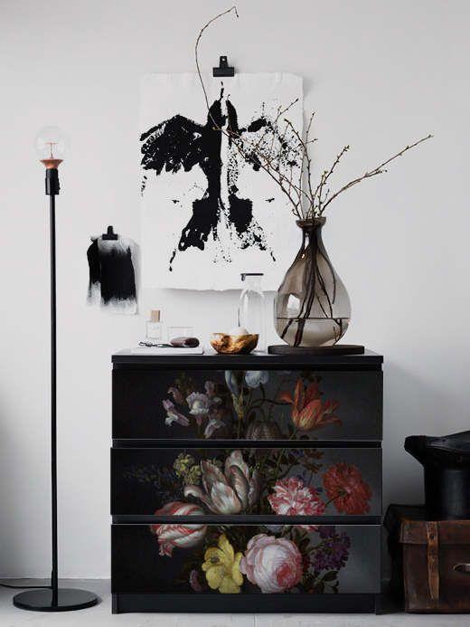 MALM Kommode, Ikea, niederländische Dark Vintage Floral Aufkleber, PACK 3, schälen und Stick, Blumen, selbst Klebstoff, Ikea-Möbel #3M