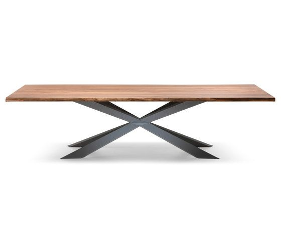 Table with base in matt white or matt graphite varnished steel, stainless steel or Canaletto walnut. Top in walnut Canaletto top with irregular natural solid wood edges. Special sizes for top on deman…
