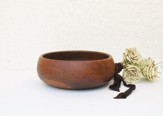 Turned Teakwood Bowl / Midcentury Bowl from by AlegriaCollection, $25.00