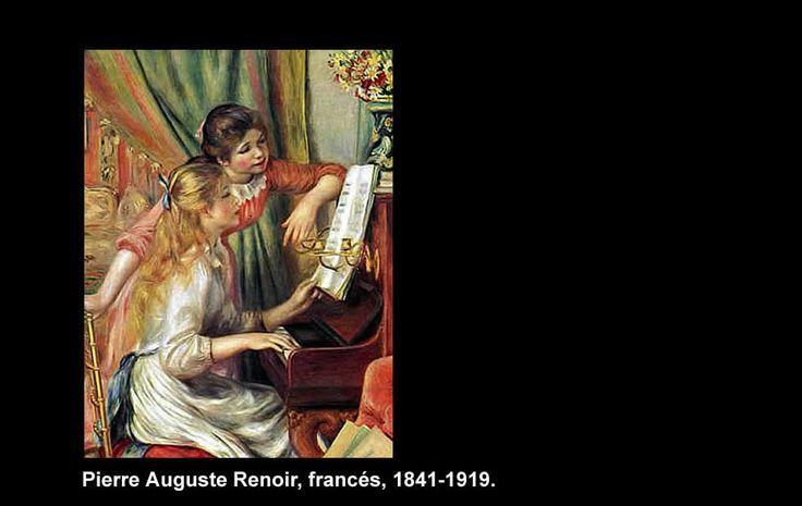 """Pierre Auguste Renoir (1841-1919)  Nació en Limoges, Francia. Pintor impresionista de retratos.  """"Jóvenes en el Piano"""""""
