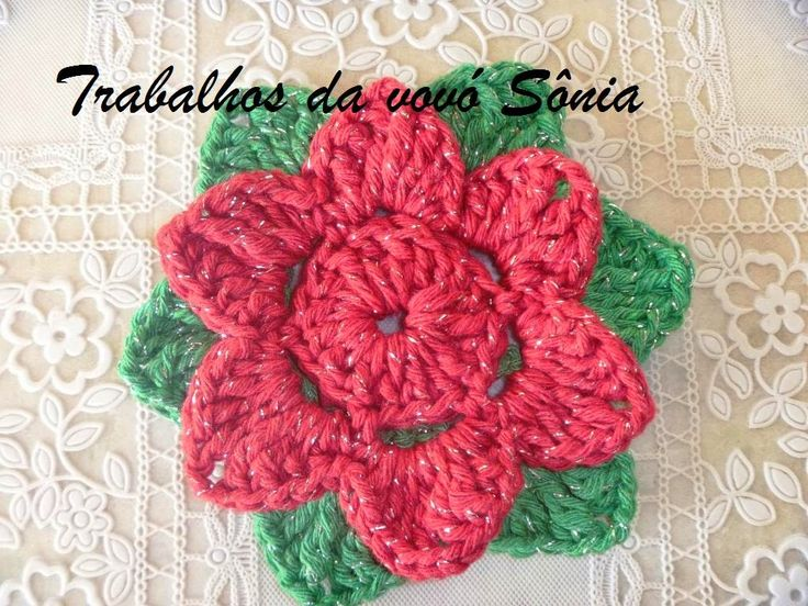 Trabalhos da vovó Sônia: Flor 6 pétalas vermelho brilhante - crochê