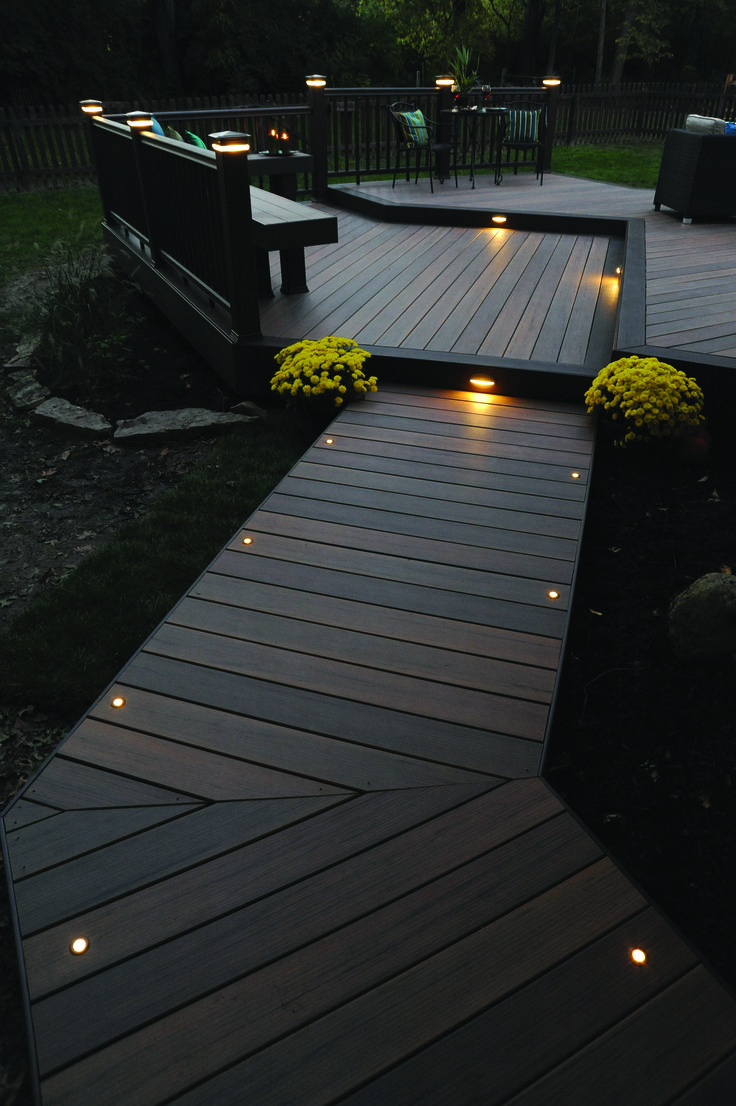 Light the night for you and your guests with timbertech Patio and deck lighting ideas