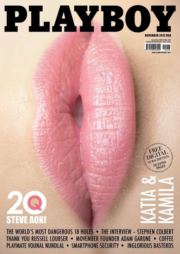 """Now THIS is sexual innuendo for the 21st century. So clever.    November Cover Of South African """"Playboy"""" Is Quite Provocative"""
