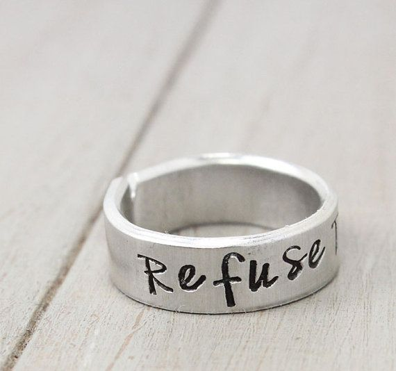 Refuse To Sink Ring, Anchor Ring,  Hipster Ring, Personalized Ring, Hand Stamped Ring, Personalized Jewelry, Quote ring on Etsy, $17.00