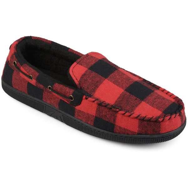 Vance Co. Truman Men's Slippers (6265 DZD) ❤ liked on Polyvore featuring men's fashion, men's shoes, men's slippers, red, mens moccasins, mens slippers, mens moccasin slippers, mens plaid shoes and mens lightweight running shoes