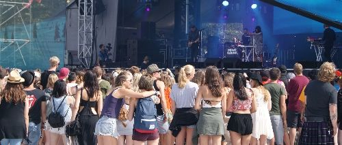 The young crowd at the Dear Rouge concert at the Stawamus Stage during the Squamish Valley Music Festival