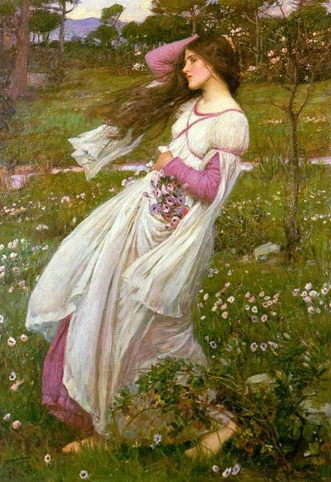Windflowers, 1903 by John William Waterhouse (British, 1849 - 1917) ~ And forget not that the earth delights to feel your bare feet and the winds long to play with your hair.   ~ Khalil Gibran