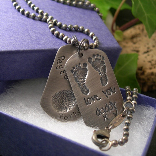 Baby Footprint Mens Dogtag Necklace for Dad, New Dad Gift ...