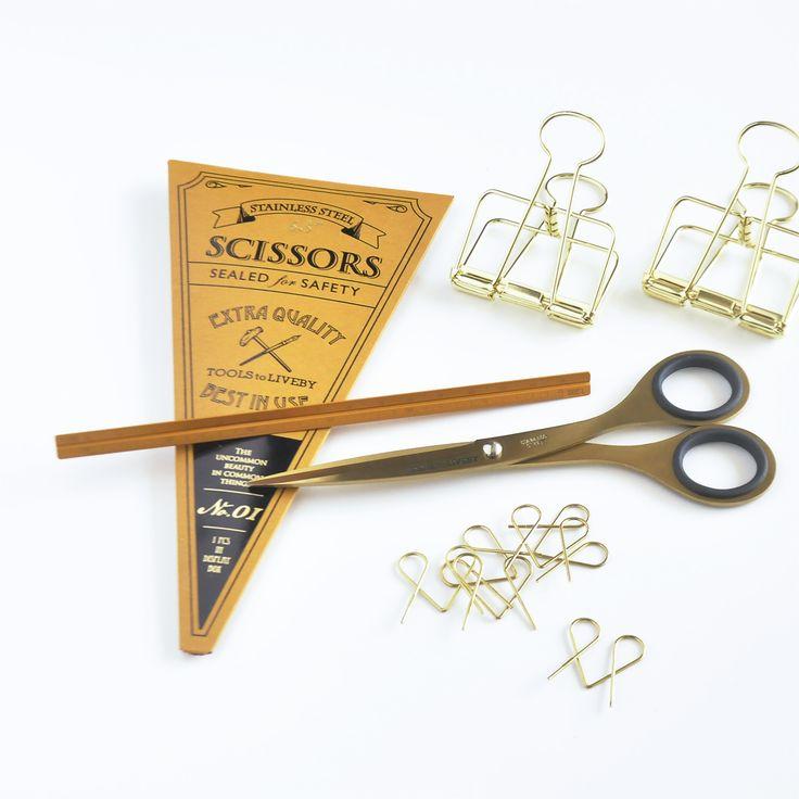 Nowa marka! / NOTEKA / Tools to Liveby / Stationery / Brass / Steel / Beautiful / Nożyczki / Klipsy / Clips / Scissors