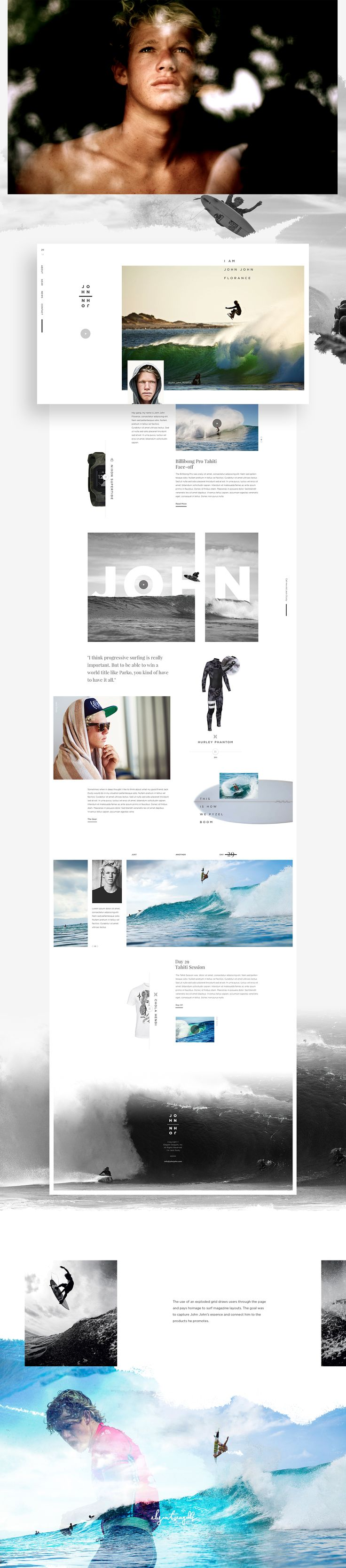 """John """"John"""" Florence is a pro surfer known as one of the most dominant pipe surfers of this era. He is constantly pushing the boundaries of tube riding and aerial assaults. His progressive surf style helped inspire this concept's overall direction."""