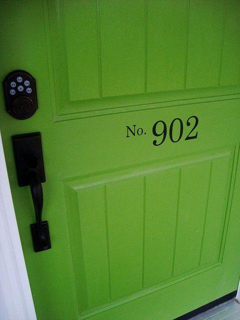 Love the number on the door.: Green Doors, The Doors, Bright Green, Front Doors, House Numbers