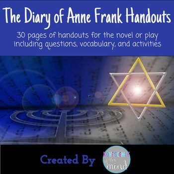 30 page unit including reading questions for book or play.This set includes a cast list for play, essay questions, vocabulary lists, and vocabulary activities.  30 full pages of goodness.Check out my other Diary of Anne Frank products:The Diary of Anne Frank Play Test Question BankThe Diary of Anne Frank Vocabulary Test Bank The Diary of Anne Frank Play Test